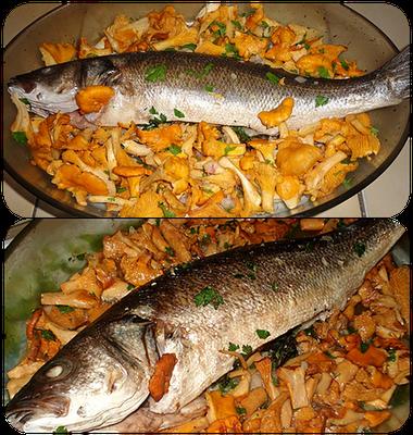 peixe assado com cogumelos shitake