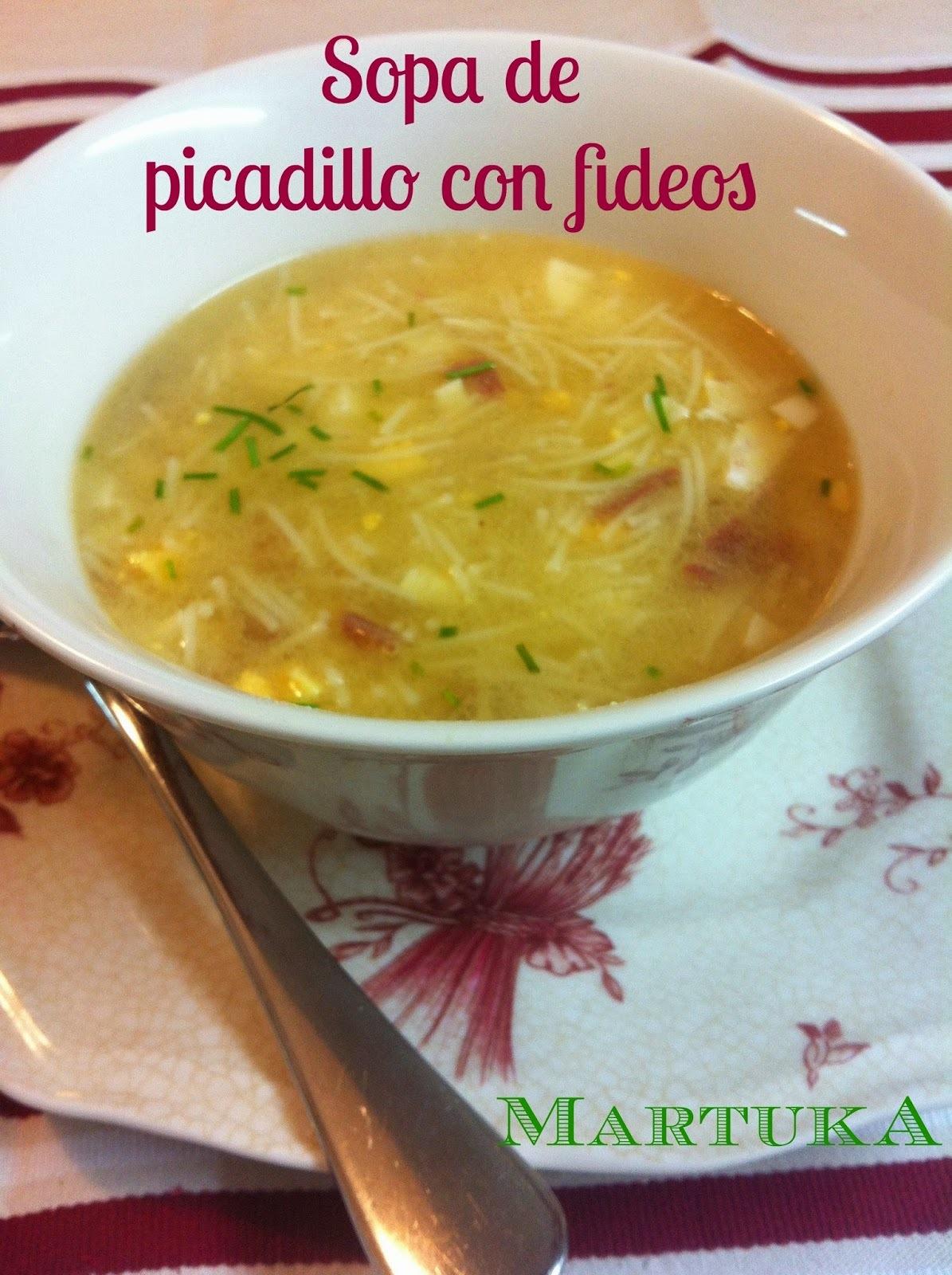 Sopa De Picadillo Con Fideos