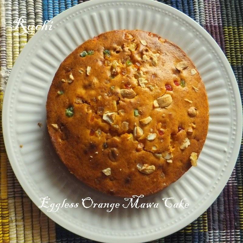 Eggless Orange Mawa Cake