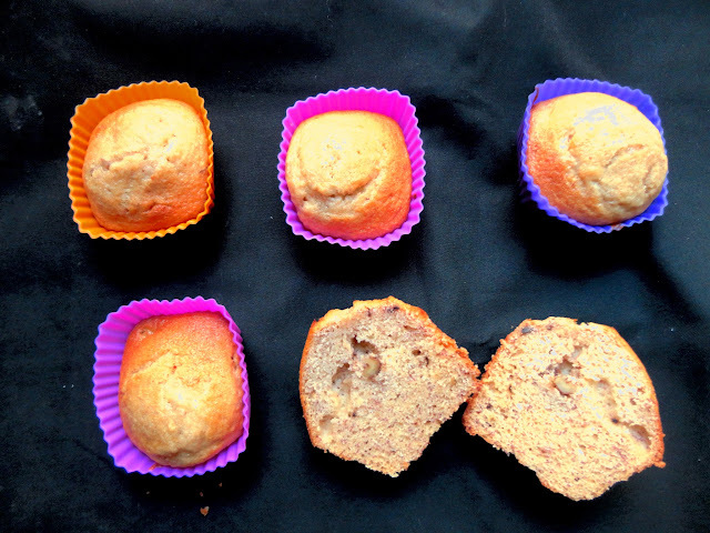 Muffins de Plátano, Miel y Nueces.
