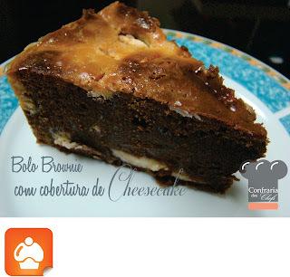 Bolo Brownie com cobertura de Cheesecake