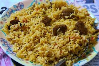 Healthy vegetarian Biryani (Soya Chunks Biryani)