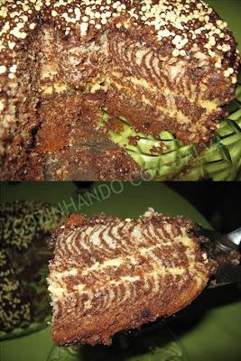 Bolo Zebrinha com Cobertura de Chocolate e Recheio de maracujá