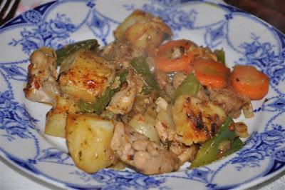 Wok de pollo y papas