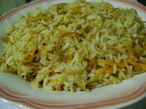 arroz com macarrão cabelo de anjo