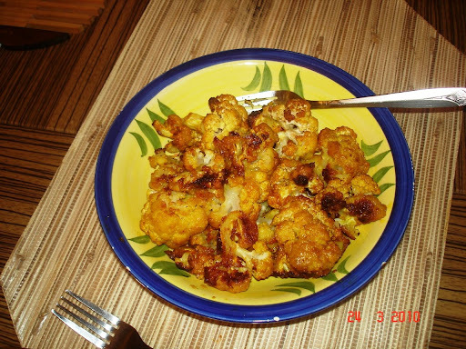 Low Fat Gobhi Bhaja - Oven Roasted Cauliflower Desi Style