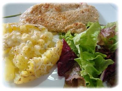 filé de peixe com batatas gratinadas