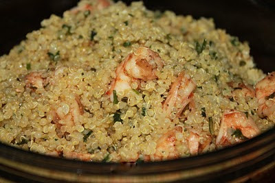 Camarão com Quinoa e Pesto