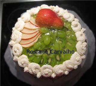 Torta vidrada de kiwi da Dinda