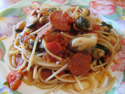 Spaghettis aux moules et au chorizo