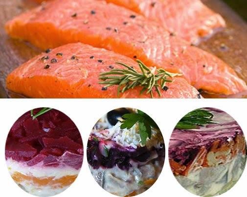 Salade de saumon aux légumes, en vinaigrette (Georgie, Caucase)
