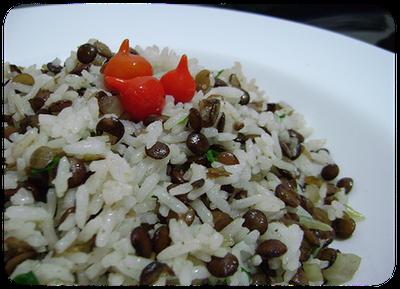 salada de lentilha e arroz
