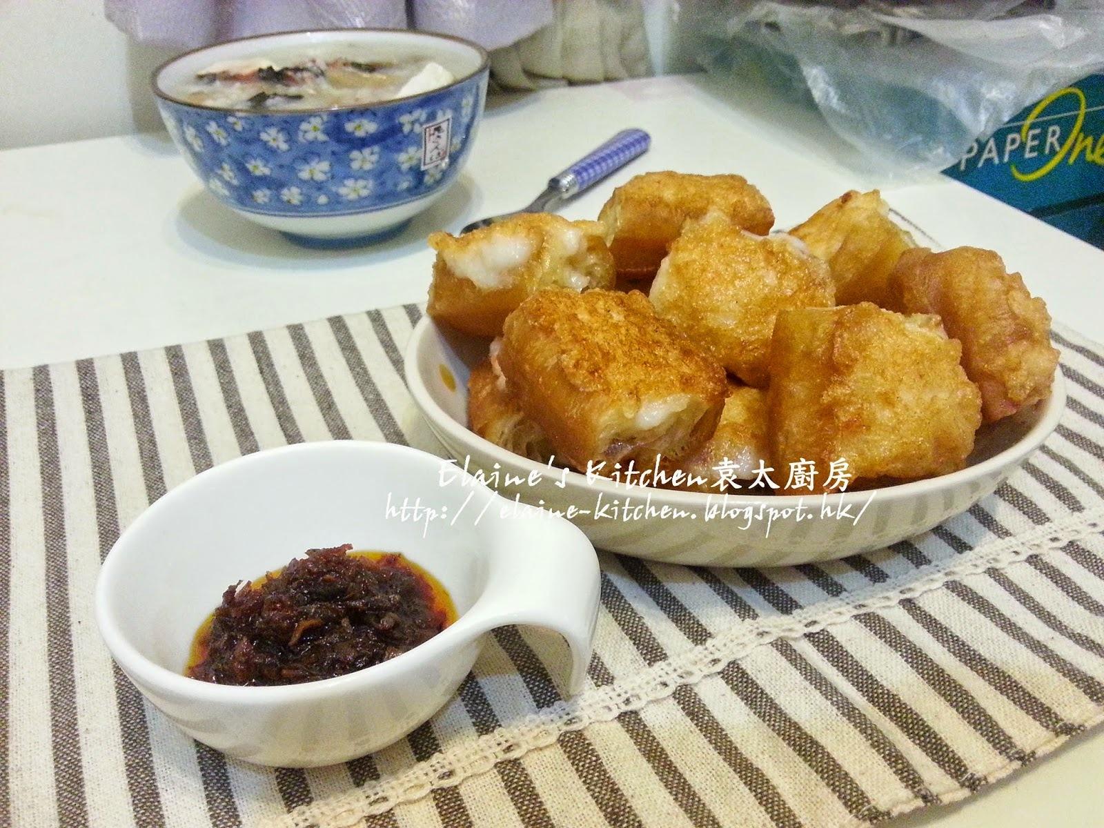 百花釀油條配XO醬 , 菜乾臘鴨絲魚腩粥