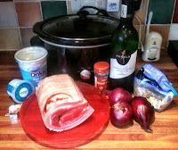Slow Cooker Pork Belly on Lentils