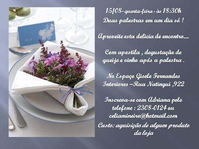 Convite - Palestra:  Mesa de Queijo e Vinhos & Dobra de Guardanapo