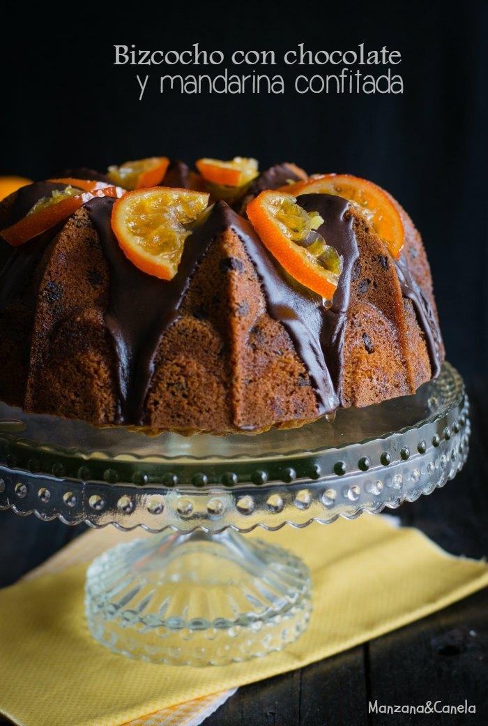Bizcocho con chocolate y mandarinas confitadas