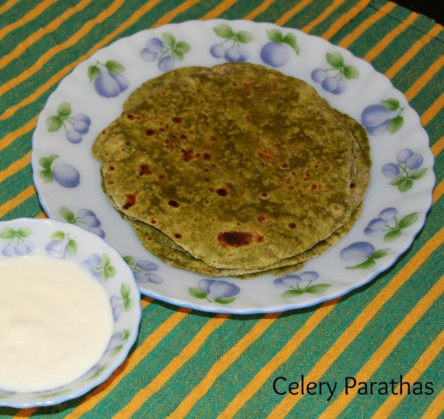 Celery Parathas - Guest Post by Pooja Rao