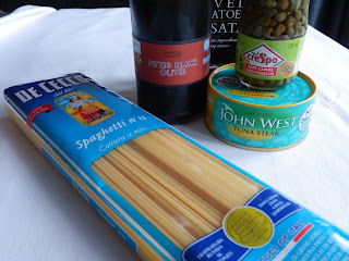 Pasta with tuna, olives and capers (pasta al tonno) - a store cupboard standby