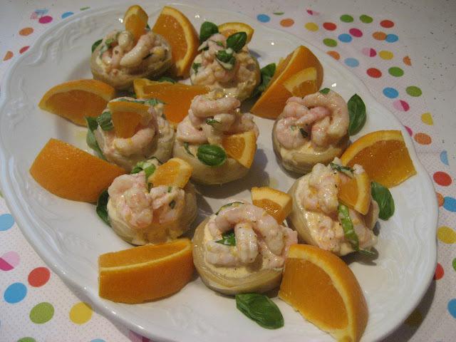Fonds d'artichauts aux crevettes et à l'orange