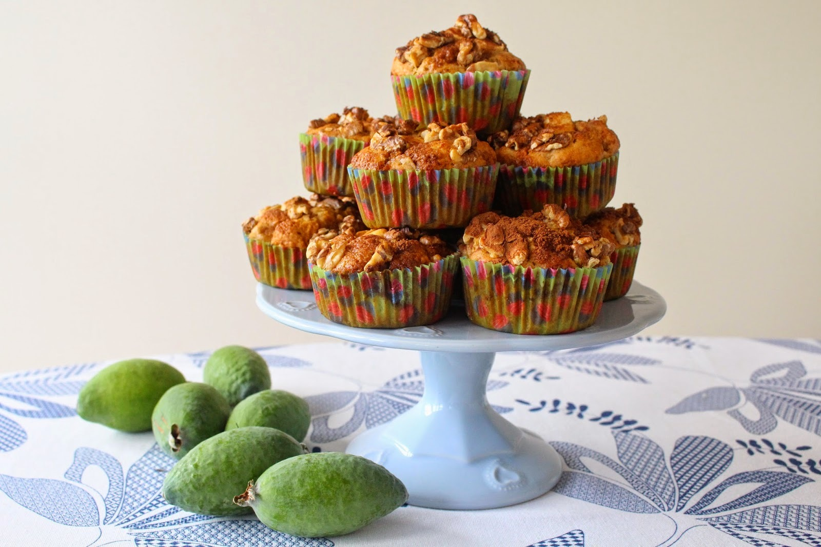 Feijoa Muffins ~ with Walnut & Cinnamon Sugar Topping