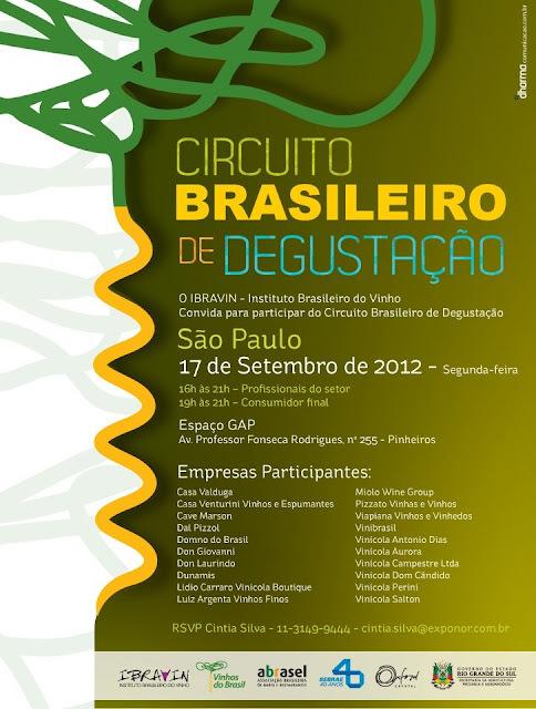 Circuito Brasileiro de Degustação acontece dia 17.09.2012 - Participe !