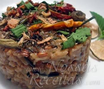 risoto de frango com arroz sete grãos