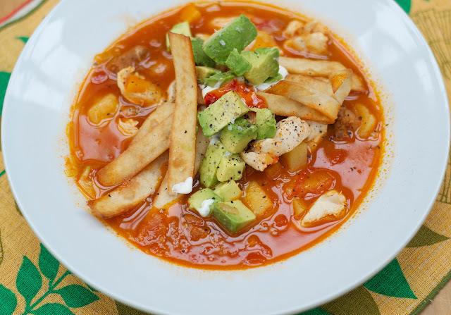 chorizo chicken soup with crispy tortilla strips
