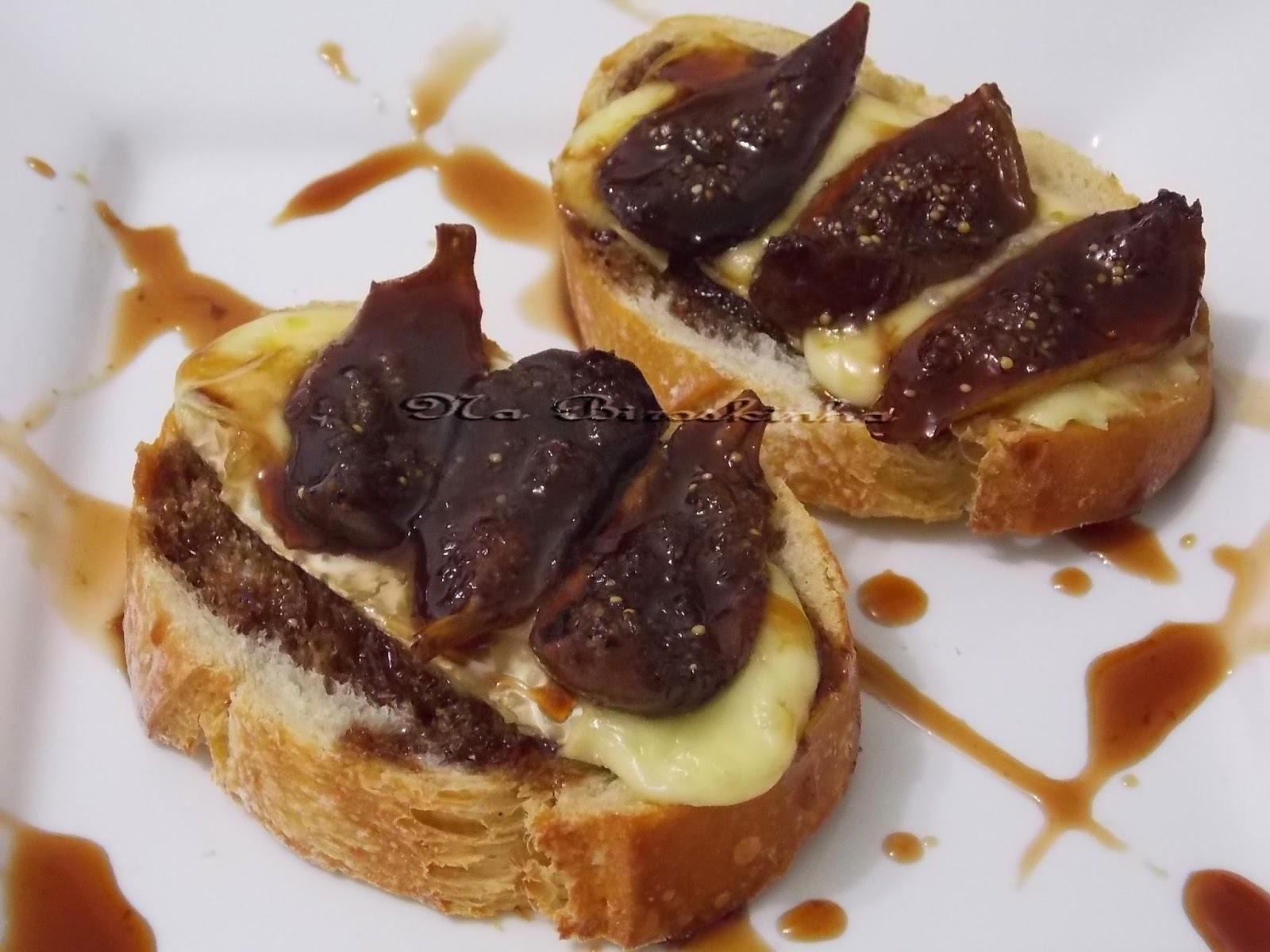 Bruschettas com Queijo Brie e Figos Assados no Balsâmico e Mel
