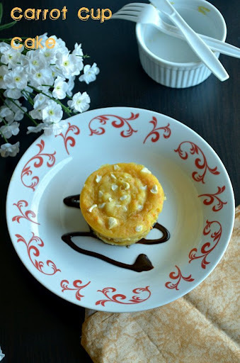 Microwave  Eggless Carrot Cup Cake