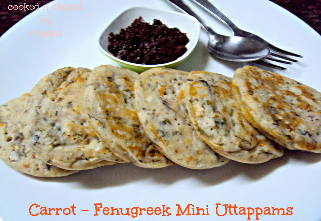 Gajar Methi Mini Uttappams ( Carrot Fenugreek Pancakes)
