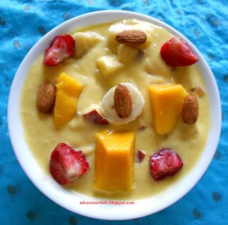 Mango Puree Fruits Salad Without Custard