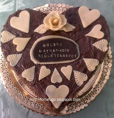Csokoládés szívtorta születésnapra