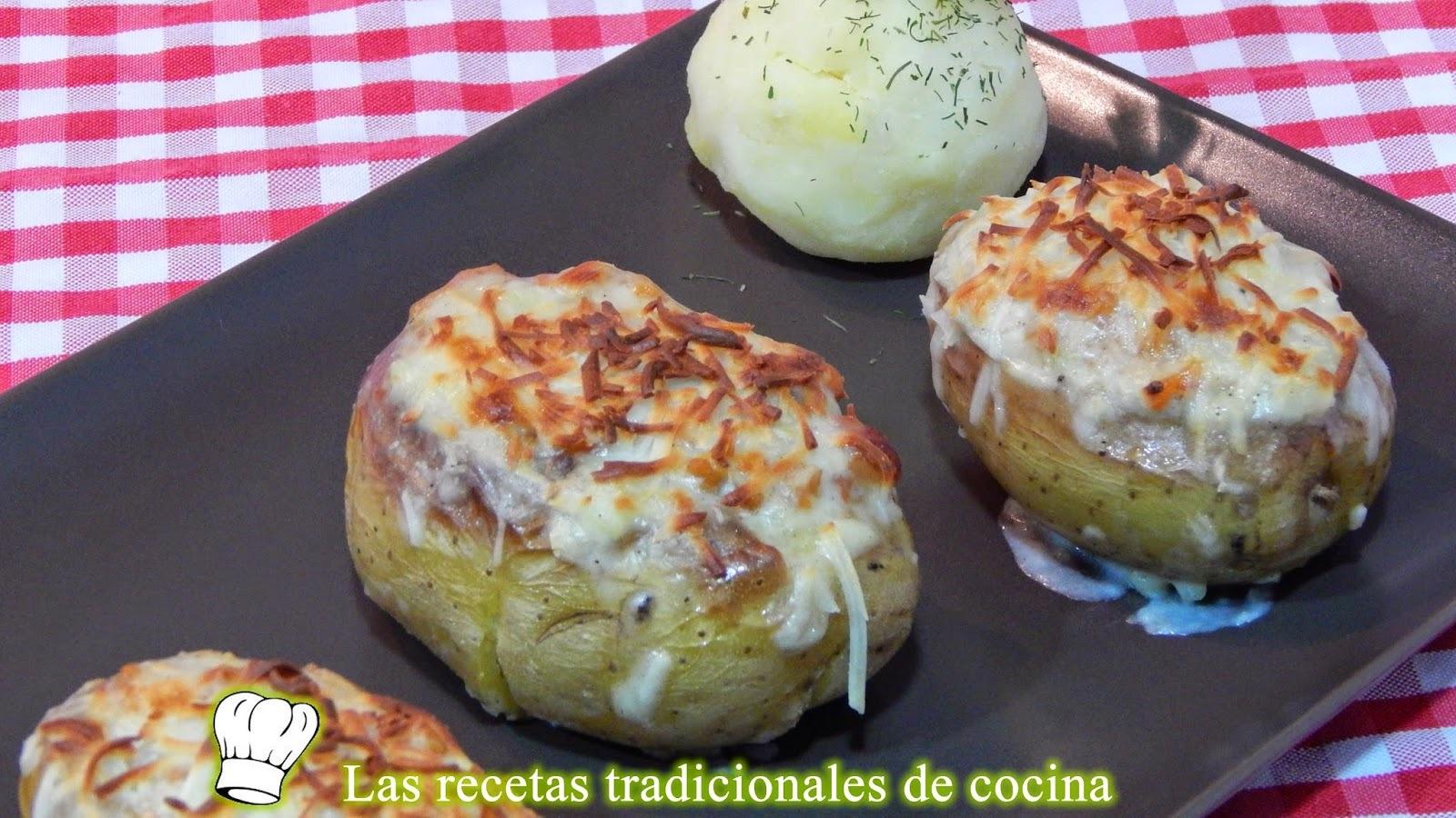 Receta de patatas rellenas de carne y jamón