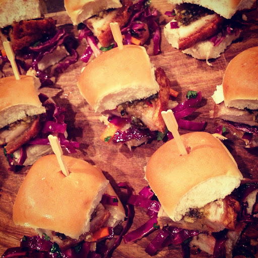 Crispy Pork Belly Sliders with Red Cabbage and Cashew Salad