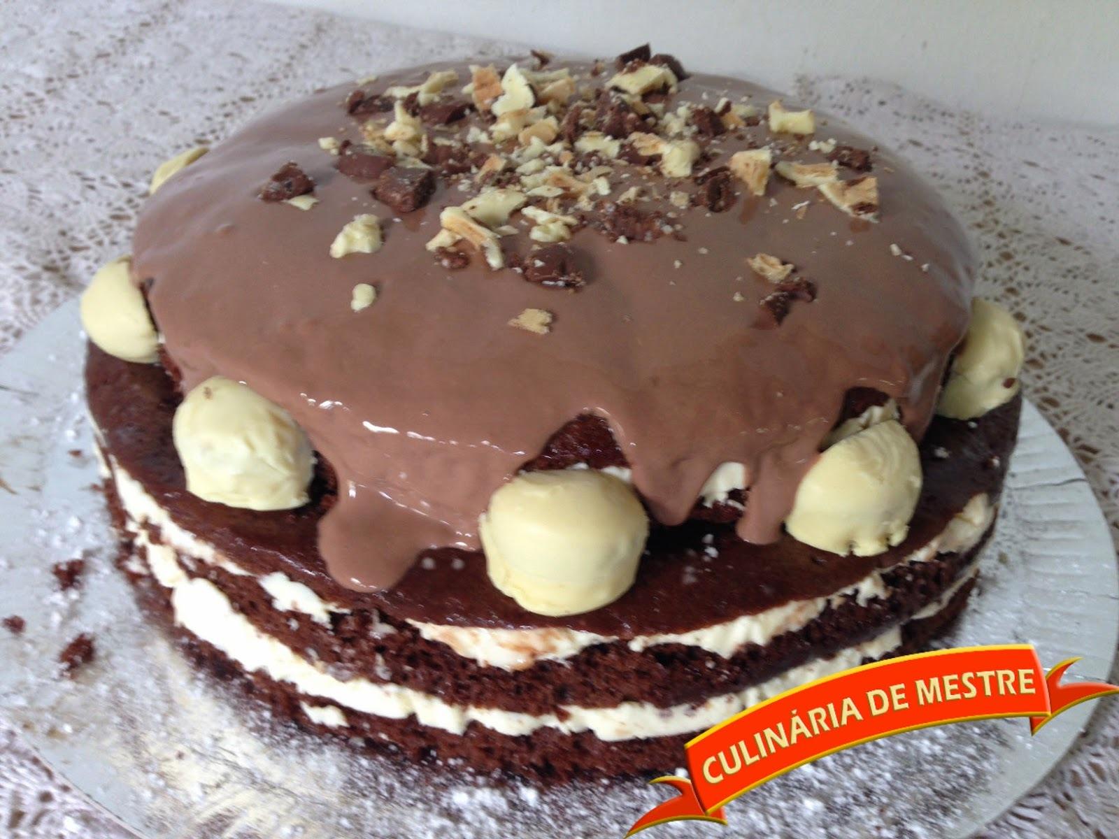 Naked Cake de Chocolate com Bombom e Leite Ninho