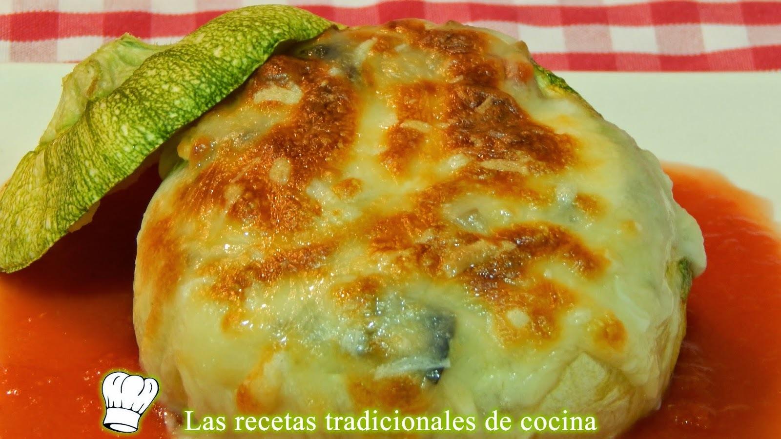 Receta de calabacín relleno de verduras con bechamel