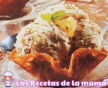 Receta de Cestitos de pasta acaramelada