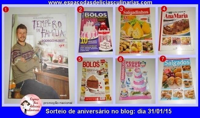 Sorteio no blog de aniversário de 4 anos: de 2 livros de receitas e 5 revistas de receitas