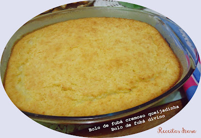 bolo de fuba cremoso com creme de leite e leite condensado e leite de coco