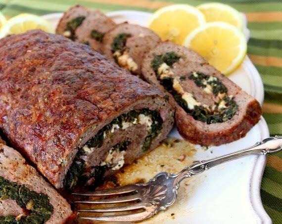 Rolled Greek Meatloaf - #SundaySupper