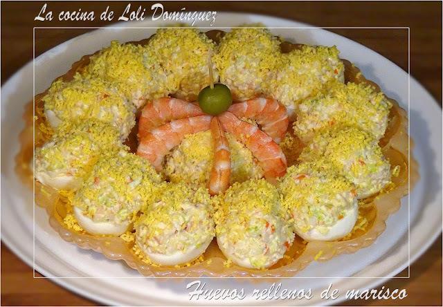 Huevos rellenos de marisco