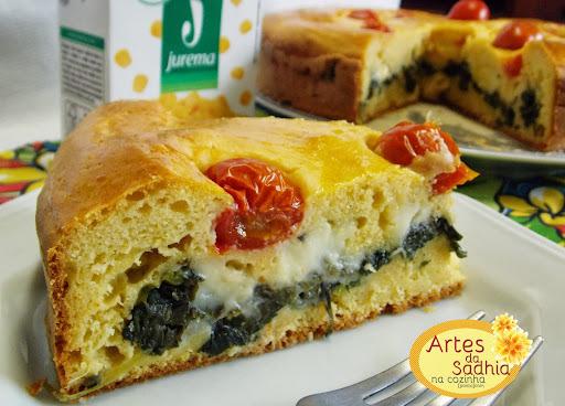 Torta de milho verde com recheio de espinafre com catupiry da Irene .