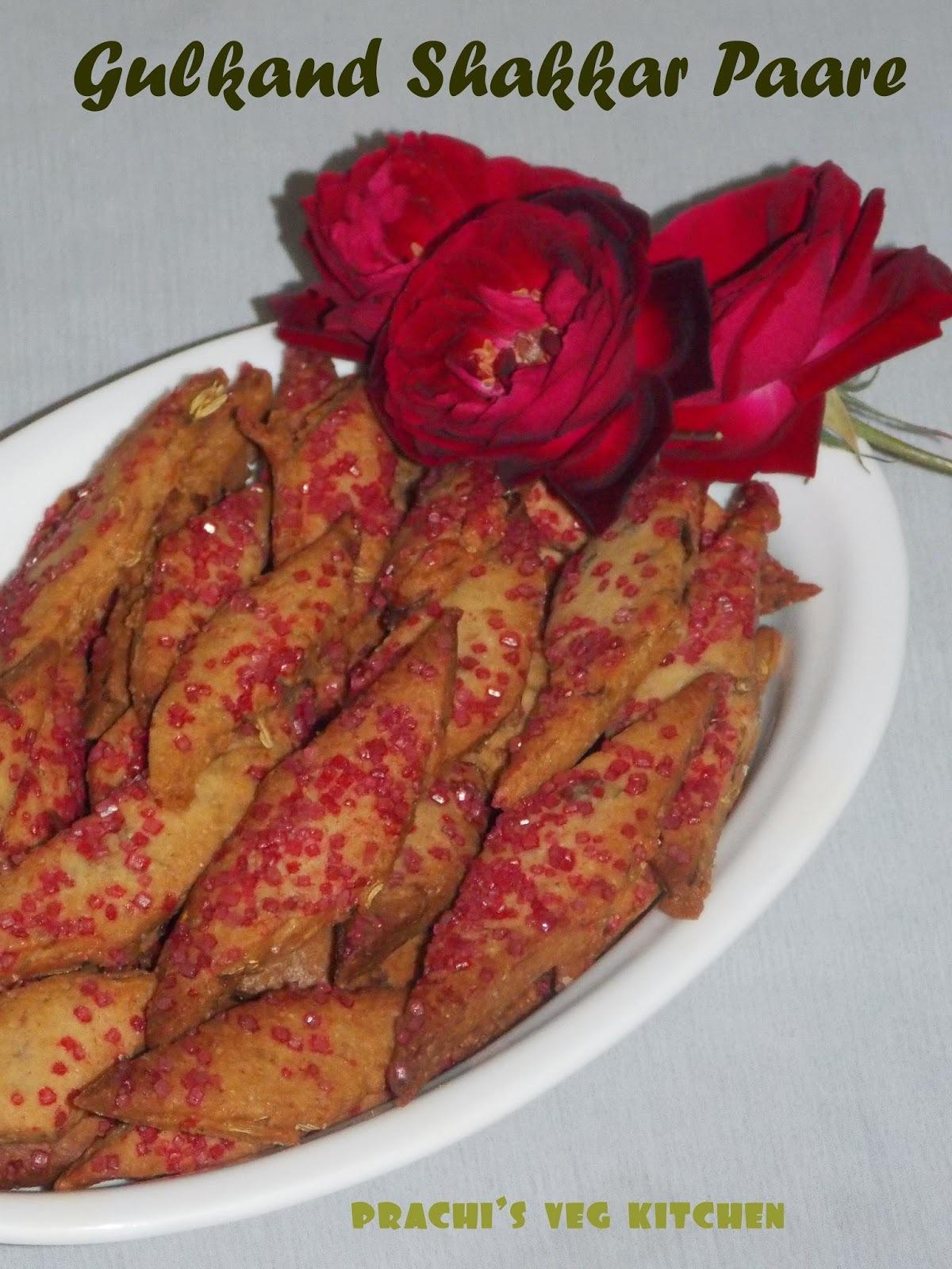 Gulkand Shakkar Paare / Sweet Cracker (Baked)