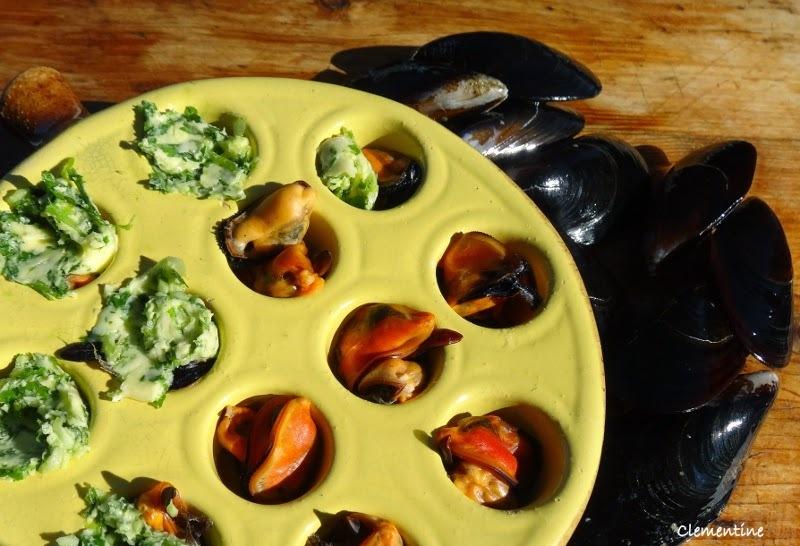 Moules à l'escargot gratinées
