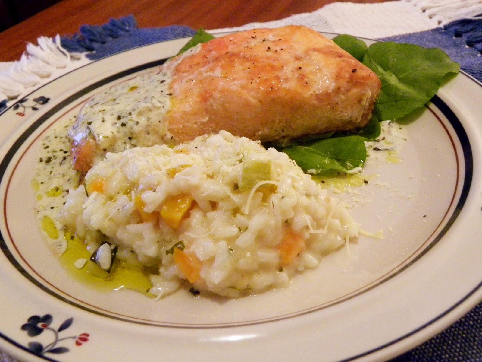 Risoto da Horta e Salmão ao Molho de Ervas e Limão Siciliano