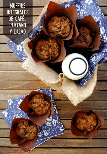 muffins integrales de café, plátano y cacao {superalimentos}