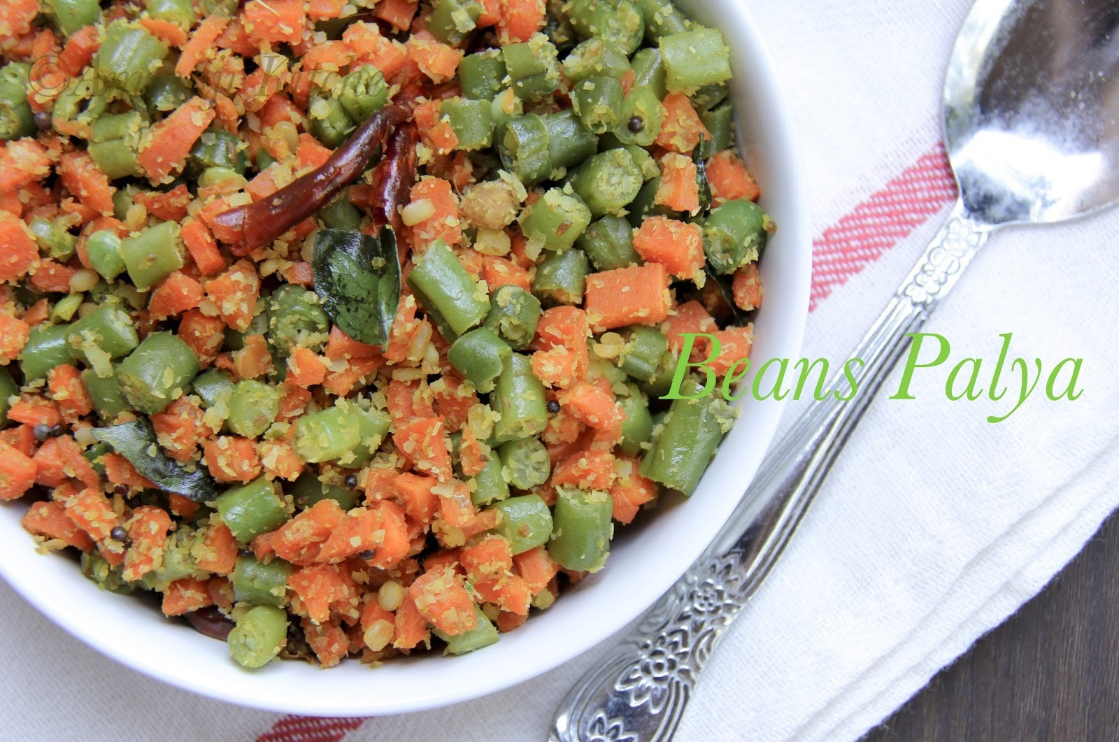 Bean Carrot Palya &Hurli Chutney