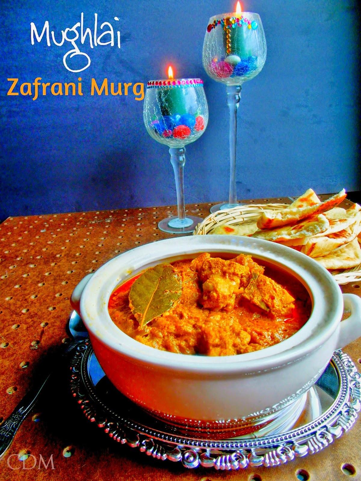 Mughlai Zafrani Murg|A Chicken curry made with saffron and cashewnut paste in Mughlai style