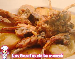 Receta de chuletillas de cordero con patatas al horno