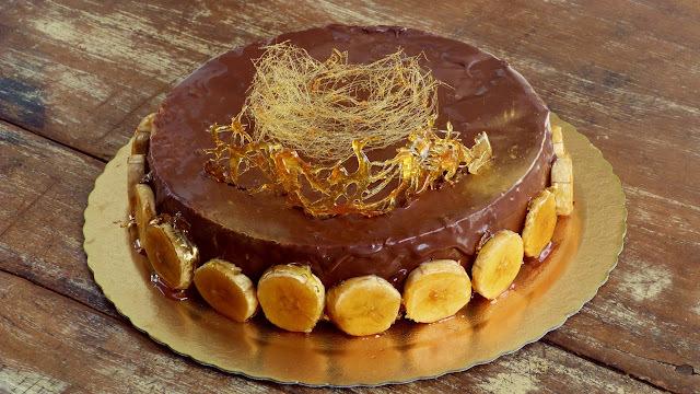 Entremet de Banana caramelada com Chocolate
